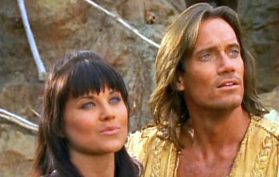 Lucy Lawless and Kevin Sorbo in 'Hercules: The Legendary Journeys'. (Credit: NBC)