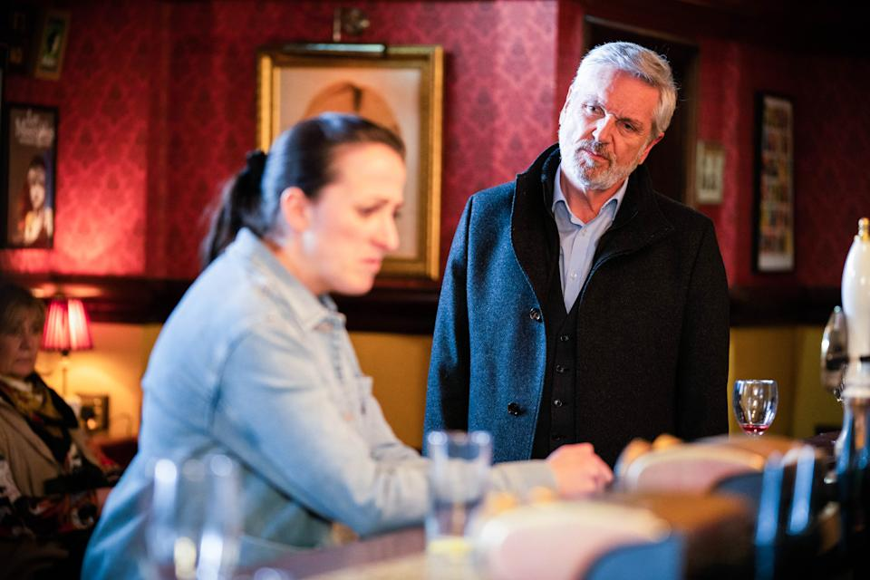 WARNING: Embargoed for publication until 00:00:01 on 11/05/2021 - Programme Name: EastEnders - April-June 2021 - TX: 20/05/2021 - Episode: EastEnders - April-June 2021- 6275 (No. 6275) - Picture Shows: ***EMBARGOED TILL TUESDAY 11TH MAY 2021*** Sonia Fowler (NATALIE CASSIDY), Rocky (BRIAN CONLEY) - (C) BBC - Photographer: Kieron McCarron/Jack Barnes
