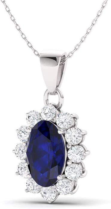 Bring home your version of the Hope Diamond—this gorgeous sapphire and diamond necklace. (Photo: Amazon)