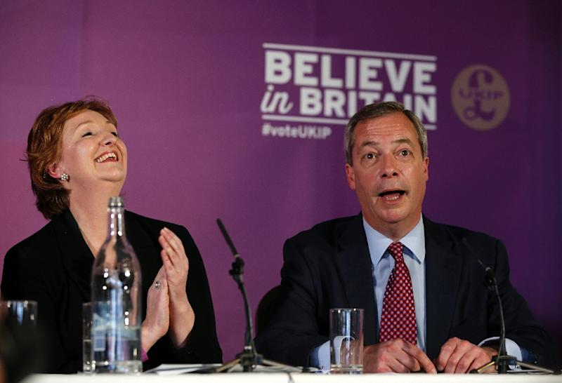 Suzanne Evans with Nigel Fage in Thurrock in April last year (AFP Photo/Adrian Dennis)