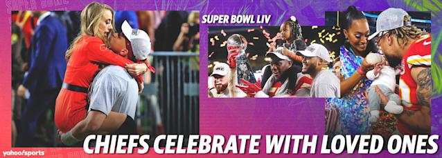 Kansas City Chiefs celebrate Super Bowl title with family and friends.
