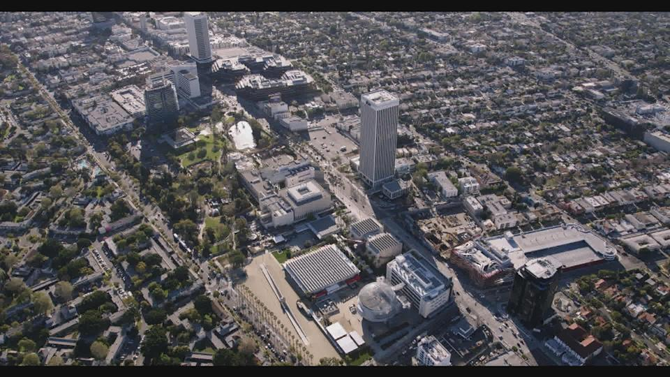 Before: An aerial shot of Wilshire Blvd. and the La Brea tar pits