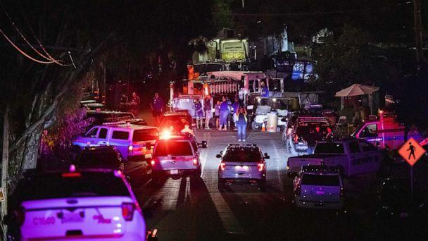 PHOTO: Police vehicles arrive on the scene of the investigation following a deadly shooting at the Gilroy Garlic Festival in Gilroy, 80 miles south of San Francisco, Calif., July 28, 2019. (Philip Pacheco/AFP/Getty Images)