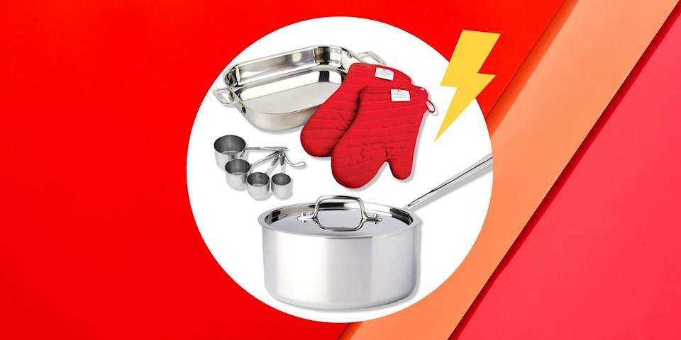"""<p>After months of cooking every single meal, there's a good chance that your pots and pans desperately need to be replaced. Problem is, outfitting your kitchen can be expensive. (I mean, a good frying pan alone can set you back a couple hundred dollars.) </p><p>If you're looking to restock your cabinets, but don't want to spend a small fortune, a website called <a href=""""https://homeandcooksales.com/index.php/"""" rel=""""nofollow noopener"""" target=""""_blank"""" data-ylk=""""slk:Home and Cook Sales"""" class=""""link rapid-noclick-resp"""">Home and Cook Sales</a> is having a low-key epic sale on All-Clad cookware. Sure, Home and Cook Sales isn't as well-known as, say, Amazon or Walmart, but the site regularly has great deals on all your culinary needs. </p><p>Now through Friday, January 22, the site is offering over 50 percent off of <a href=""""https://go.redirectingat.com?id=74968X1596630&url=https%3A%2F%2Fhomeandcooksales.com%2Findex.php%2F7-in-french-skillet-stainless-second-quality-3.html&sref=https%3A%2F%2Fwww.womenshealthmag.com%2Ffood%2Fg35254412%2Fall-clad-seconds-sale%2F"""" rel=""""nofollow noopener"""" target=""""_blank"""" data-ylk=""""slk:skillets"""" class=""""link rapid-noclick-resp"""">skillets</a>, <a href=""""https://go.redirectingat.com?id=74968X1596630&url=https%3A%2F%2Fhomeandcooksales.com%2Findex.php%2F3-qt-sauce-pan-w-lid-stainless-second-quality.html&sref=https%3A%2F%2Fwww.womenshealthmag.com%2Ffood%2Fg35254412%2Fall-clad-seconds-sale%2F"""" rel=""""nofollow noopener"""" target=""""_blank"""" data-ylk=""""slk:pans"""" class=""""link rapid-noclick-resp"""">pans</a>, <a href=""""https://go.redirectingat.com?id=74968X1596630&url=https%3A%2F%2Fhomeandcooksales.com%2Findex.php%2Fstandard-size-measuring-cups-set-stainless-packaging-damage.html&sref=https%3A%2F%2Fwww.womenshealthmag.com%2Ffood%2Fg35254412%2Fall-clad-seconds-sale%2F"""" rel=""""nofollow noopener"""" target=""""_blank"""" data-ylk=""""slk:baking essentials"""" class=""""link rapid-noclick-resp"""">baking essentials</a>, and so much more. (Let that sink in for a sec, will ya?) The one caveat is t"""
