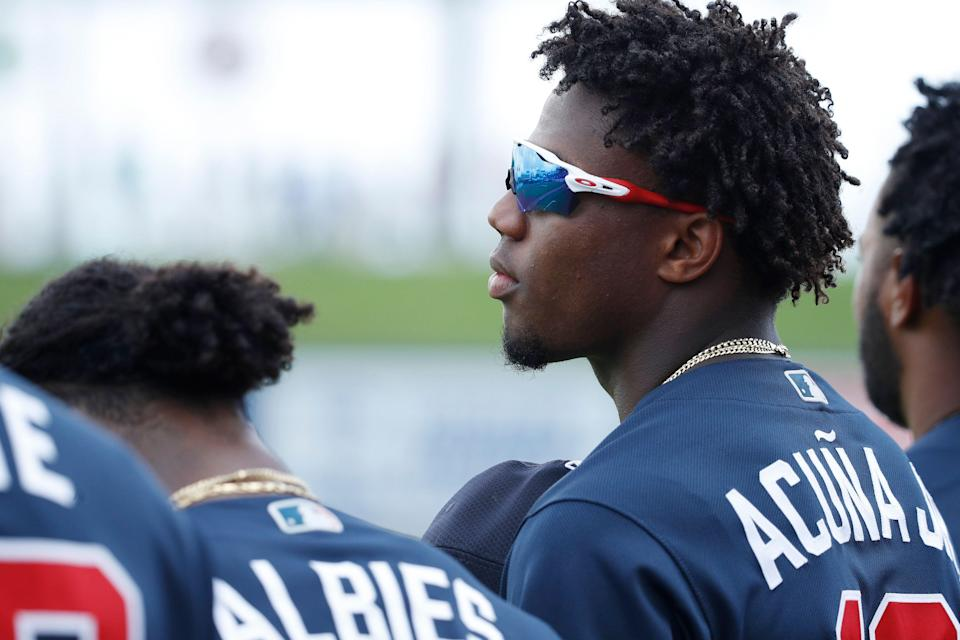 WEST PALM BEACH, FL - FEBRUARY 24: Ronald Acuna Jr. #13 of the Atlanta Braves looks on during a Grapefruit League spring training game against the Houston Astros at The Ballpark of the Palm Beaches on February 24, 2019 in West Palm Beach, Florida. The Astros won 5-2. (Photo by Joe Robbins/Getty Images)