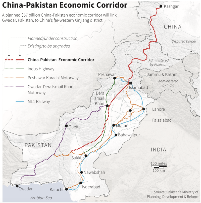 Map locating the route of the China-Pakistan Economic Corridor. (Source: Reuters)