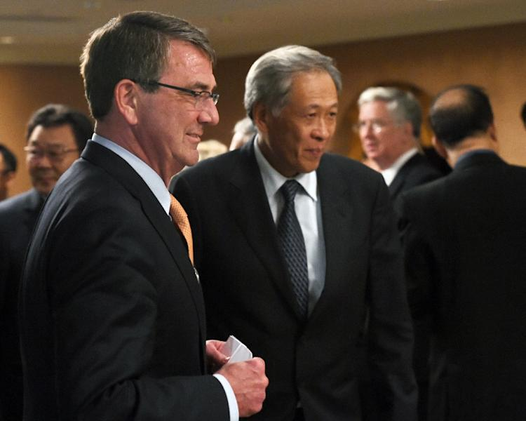 US Secretary of Defense Ashton Carter (L) chats with Singapore minister for defence Ng Eng Hen during the 14th Asia Security Summit, the International Institute for Strategic Studies (IISS) Shangri-La Dialogue, in Singapore, in May 2015 (AFP Photo/Roslan Rahman)