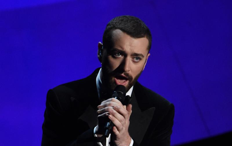Sam Smith performing at the Oscars: Getty