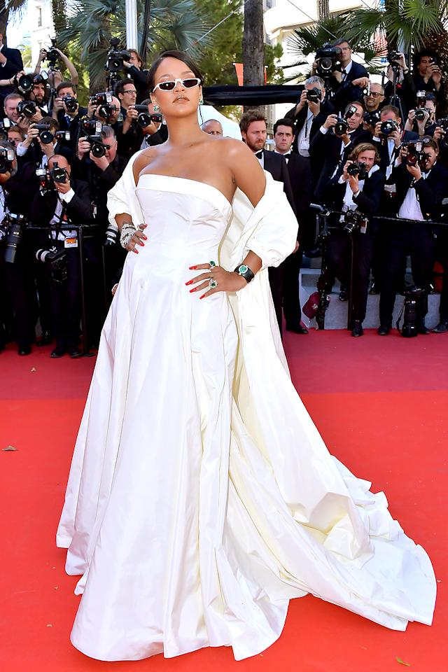 <p>There's a lot of glam at the Cannes Film Festival, but Rihanna stole the show at the <em>Okja</em> premiere in her off-white Dior Haute Couture silk taffeta coat and bustier dress. She is a star in every sense of the word. (Photo: BACKGRID) </p>