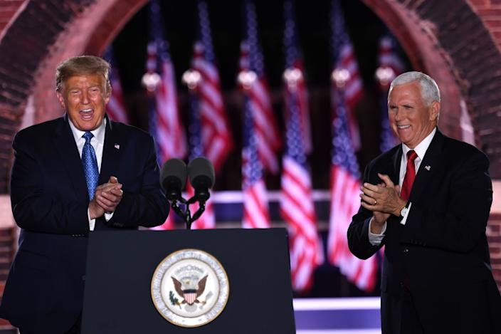 President Donald Trump and Vice President Mike Pence attend the third night of the Republican National Convention on August 26, 2020.