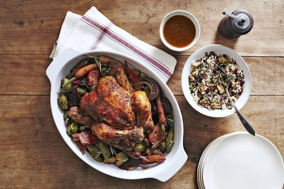 """<p>Believe it or not, you can make almost every Thanksgiving course in your trusty slow cooker (along with <a href=""""https://www.countryliving.com/food-drinks/g1903/slow-cooker-recipes/"""" rel=""""nofollow noopener"""" target=""""_blank"""" data-ylk=""""slk:dozens of every-day recipes"""" class=""""link rapid-noclick-resp"""">dozens of every-day recipes</a>). You can even cook the turkey! Just use an extra large slow cooker, and our herbed chicken recipe, below. Save yourself time and effort by letting a few of these dishes cook while you work on other recipes.</p><p><strong>Main Course:</strong></p><p><a href=""""https://www.countryliving.com/food-drinks/recipes/a5689/herbed-chicken-beets-brussels-recipe-clx1014/"""" rel=""""nofollow noopener"""" target=""""_blank"""" data-ylk=""""slk:Herbed Chicken With Beets and Brussels"""" class=""""link rapid-noclick-resp"""">Herbed Chicken With Beets and Brussels</a></p><p><strong>Sides:</strong></p><p><a href=""""https://www.countryliving.com/food-drinks/recipes/a40028/slow-cooker-mashed-potatoes-recipe/"""" rel=""""nofollow noopener"""" target=""""_blank"""" data-ylk=""""slk:Slow Cooker Mashed Potatoes"""" class=""""link rapid-noclick-resp"""">Slow Cooker Mashed Potatoes</a></p><p><a href=""""http://www.thecreativebite.com/crock-pot-cranberry-pecan-stuffing/"""" rel=""""nofollow noopener"""" target=""""_blank"""" data-ylk=""""slk:Slow Cooker Stuffing"""" class=""""link rapid-noclick-resp"""">Slow Cooker Stuffing</a></p><p><a href=""""https://www.themagicalslowcooker.com/slow-cooker-green-bean-casserole/"""" rel=""""nofollow noopener"""" target=""""_blank"""" data-ylk=""""slk:Slow Cooker Green Bean Casserole"""" class=""""link rapid-noclick-resp"""">Slow Cooker Green Bean Casserole</a></p><p><strong>Dessert:</strong></p><p><a href=""""https://www.thegunnysack.com/slow-cooker-pumpkin-pecan-bread-pudding/"""" rel=""""nofollow noopener"""" target=""""_blank"""" data-ylk=""""slk:Slow Cooker Pecan Bread Pudding"""" class=""""link rapid-noclick-resp"""">Slow Cooker Pecan Bread Pudding</a><br></p>"""