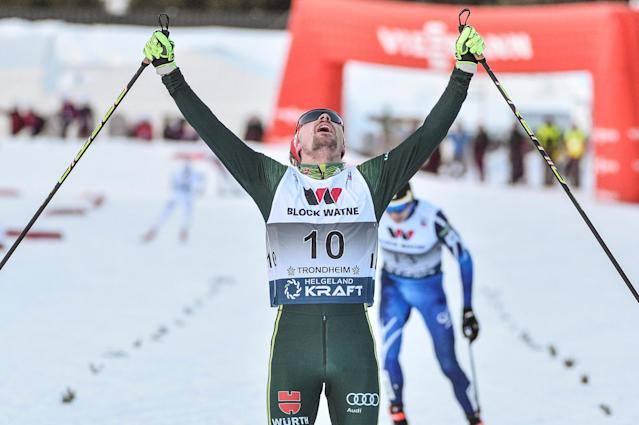 Nordic Combined - FIS Nordic Combined World Cup - Men's Gundersen LH HS140/10.0 K - Granaasen, Trondheim, Norway, March 14, 2018 - Fabian Riessle of Germany reacts after crossing the finish line. NTB Scanpix/Ned Alley via Reuters ATTENTION EDITORS - THIS IMAGE HAS BEEN SUPPLIED BY A THIRD PARTY. NORWAY OUT. NO COMMERCIAL OR EDITORIAL SALES IN NORWAY.