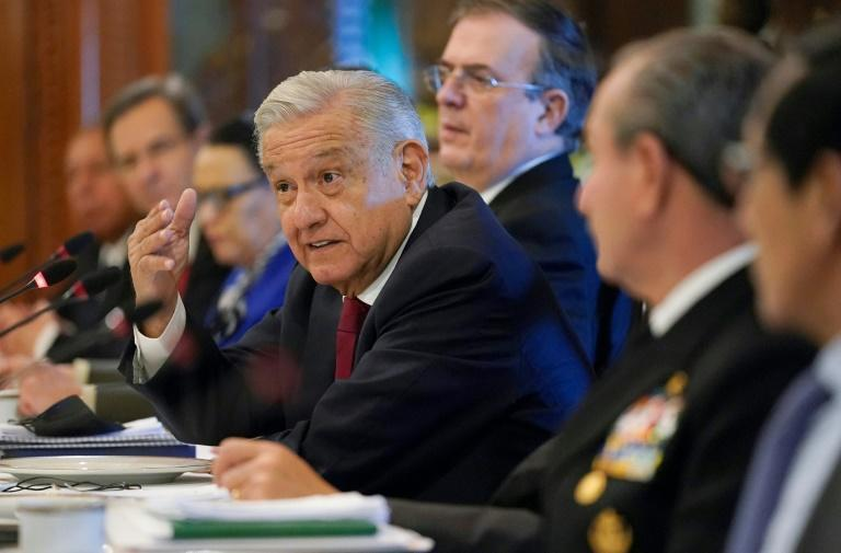 Mexican President Andres Manuel Lopez Obrador talks with a US delegation including Secretary of State Antony Blinken at a working breakfast in Mexico City (AFP/Patrick Semansky)