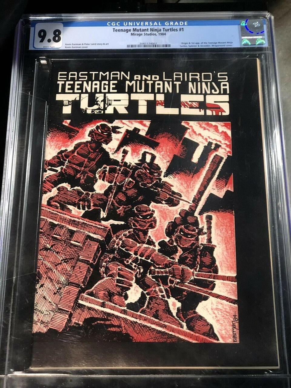 """<p>The original Teenage Mutant Ninja Turtles #1 is one of the most expensive comic books published in the 1980s. A 9.8 (CGC rating) is currently listed on eBay for a mind-boggling <a href=""""https://www.ebay.com/itm/Teenage-Mutant-Ninja-Turtles-1-CGC-9-8-Mirage-1984-1st-Print-TMNT-2081174001/202825006465?hash=item2f394ffd81:g:3scAAOSwYoZd0eIk"""" rel=""""nofollow noopener"""" target=""""_blank"""" data-ylk=""""slk:$79,950"""" class=""""link rapid-noclick-resp"""">$79,950</a>. </p>"""