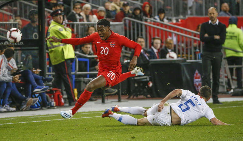 Jonathan David (20) and Canada were the better side throughout their 2-0 win over the USMNT in the CONCACAF Nations League on Tuesday. (Getty)