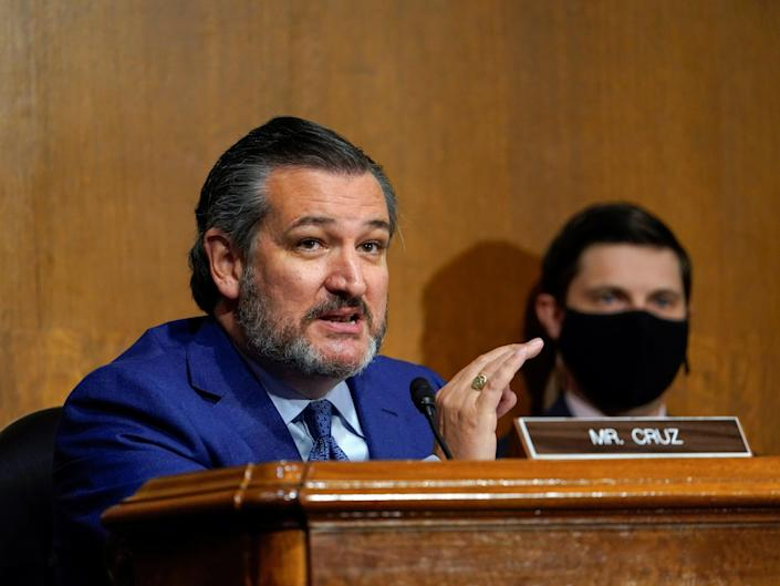 <p>Senator Ted Cruz (R-TX) speaks during a Senate Judiciary Committee hearing on the FBI investigation into links between Donald Trump associates and Russian officials during the 2016 US presidential election, on Capitol Hill in Washington, on 10 November 2020</p> ((Reuters))