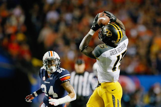 ATLANTA, GA - DECEMBER 07: Dorial Green-Beckham #15 of the Missouri Tigers catches a touchdown reception against Ryan Smith #24 of the Auburn Tigers in the second quarter during the SEC Championship Game at Georgia Dome on December 7, 2013 in Atlanta, Georgia. (Photo by Kevin C. Cox/Getty Images)