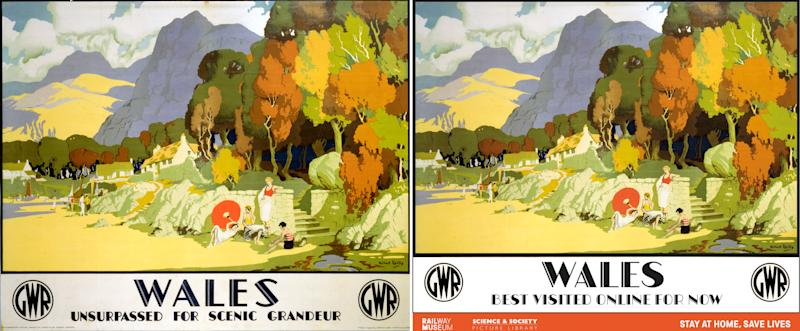 The National Railway Museum and Science and Society Picture Library of an original railway travel poster (left) with a reimagined poster (right) designed to show support for key workers, including those working in the rail industry, the set of ten popular travel posters features vintage artwork with new messages updated to reflect the GovernmentÕs travel advice.