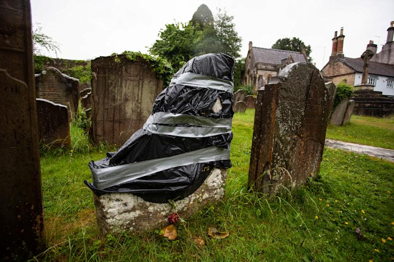 A large chunk of Scipio Africanus' grave was broken off. (Tom Wren/SWNS)