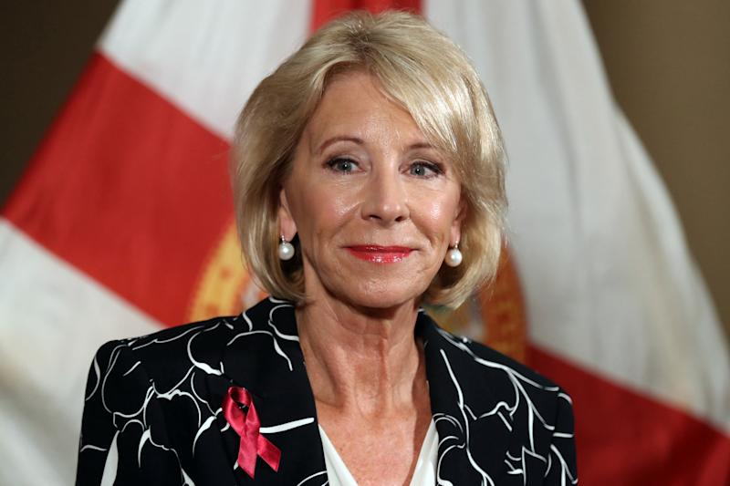 U.S. Secretary of Education Betsy Devos speaks during a news conference at the Marriot Heron Bay in Coral Springs, Fla., in 2018. Devos said on Tuesday warned an audience of a 'crisis' of rising college student loan debt and defaults on student loans. (Amy Beth Bennett/Sun Sentinel/TNS via Getty Images)
