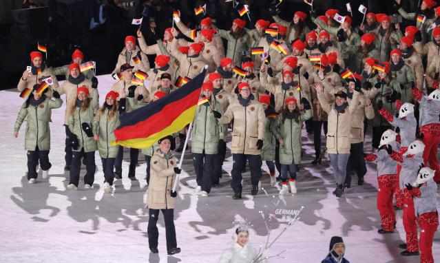 <p>Germany's color scheme leaves it with a lot to work with. Red, black and yellow — all solid colors. And they went with brown jackets? Not the best outfits on Friday night's ceremony. </p>