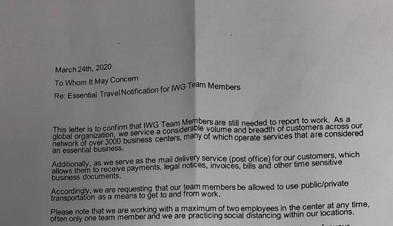 IWG letter (Photo: Supplied)