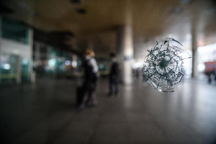 Bullet damage at Istanbul's Ataturk airport pictured on June 29, 2016 following a gun and suicide attack (AFP Photo/Ozan Kose)