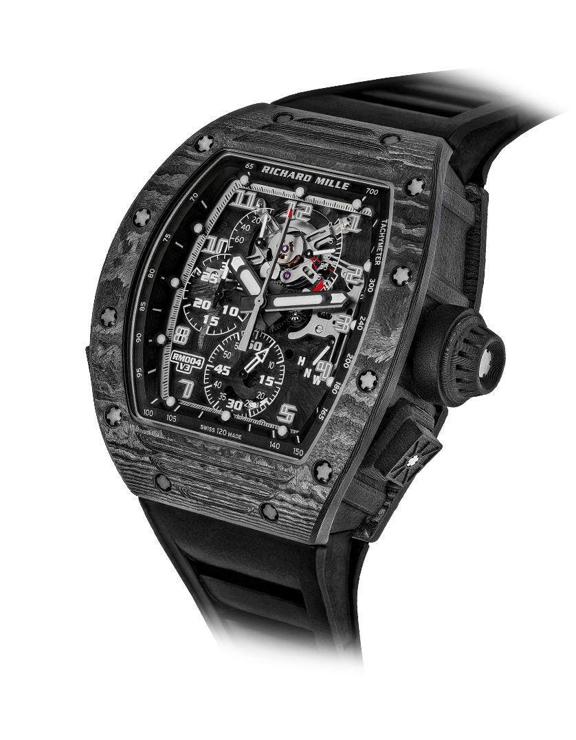"""<p><strong>Richard Mille</strong></p><p>richardmille.com</p><p><a href=""""https://www.richardmille.com/collections/rm-004-chronograph"""" rel=""""nofollow noopener"""" target=""""_blank"""" data-ylk=""""slk:Shop Now"""" class=""""link rapid-noclick-resp"""">Shop Now</a></p><p>After five years of workshopping its split-seconds chronograph watches, Richard Mille has been able to virtually eliminate the second-second hand jumping to create a high-performance timepiece. The latest version features a carbon nanofibre tonneau shaped case and a skeleton dial inlaid in a black rubber strap. <br><br></p><p>Case size: 42 mm</p>"""
