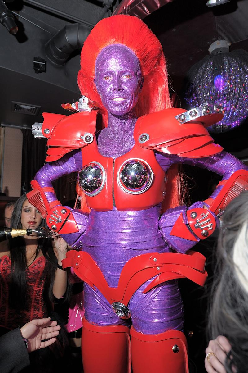 Heidi Klum dressed as a purple Transformer attends the Heidi Klum Halloween Party presented by AOL and Absolut Vodka at Lavo on October 31, 2010 in New York City. Photo courtesy of Getty Images.