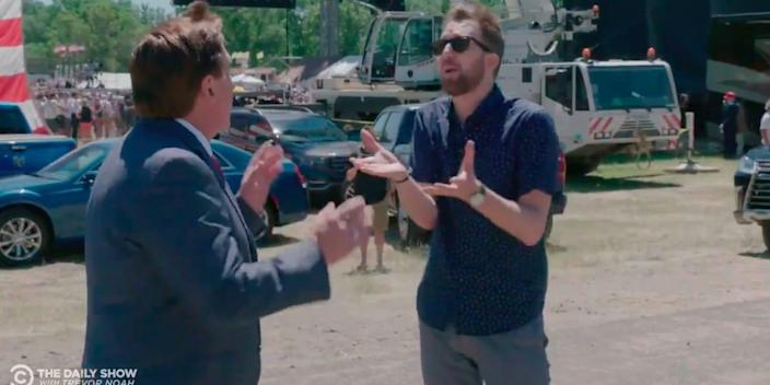 """Mike Lindell and the """"Daily Show"""" correspondent Jordan Klepper."""