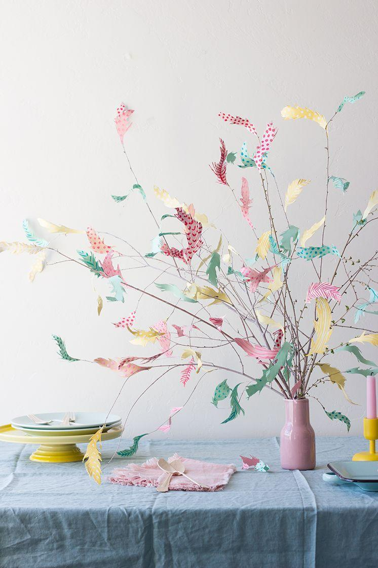 """<p>This modern take on the traditional Swedish Påskris — or feather tree — uses pastel scrapbook paper instead of real feathers.</p><p><em><a href=""""http://thehousethatlarsbuilt.com/2016/03/diy-paper-swedish-easter-tree.html/"""" rel=""""nofollow noopener"""" target=""""_blank"""" data-ylk=""""slk:Get the tutorial at The House That Lars Built »"""" class=""""link rapid-noclick-resp"""">Get the tutorial at The House That Lars Built »</a></em><br></p>"""