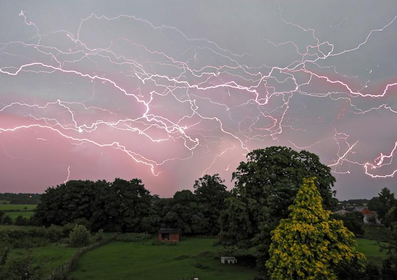 A composite photo of a lightning storm captured over the course of two hours by Mark Humpage (Picture: SWNS)