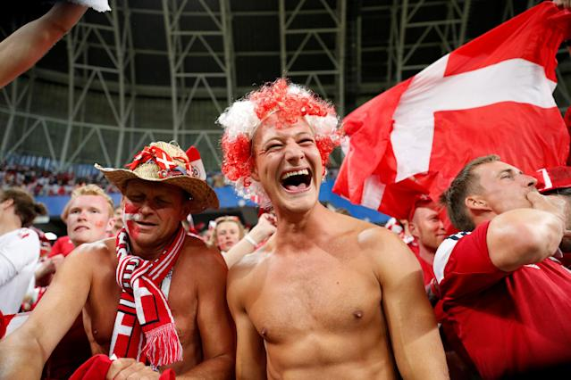 Soccer Football - World Cup - Group C - Peru vs Denmark - Mordovia Arena, Saransk, Russia - June 16, 2018 Denmark fans celebrate at the end of the match REUTERS/Max Rossi TPX IMAGES OF THE DAY
