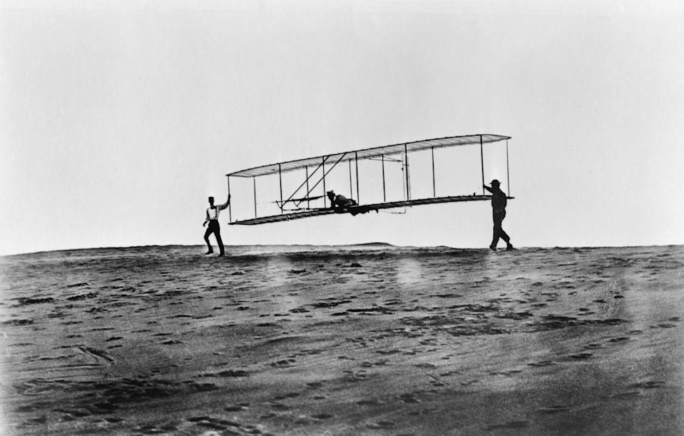 "<p>Flight is kind of a big deal these days—and the wood-frame Wright Flyer was key in making it happen. After a <a href=""https://airandspace.si.edu/collection-objects/1903-wright-flyer/nasm_A19610048000"" rel=""nofollow noopener"" target=""_blank"" data-ylk=""slk:12-second flight in 1903 in Kitty Hawk, North Carolina"" class=""link rapid-noclick-resp"">12-second flight in 1903 in Kitty Hawk, North Carolina</a>, Orville and Wilbur Wright continued to build upon their creation until engineering know-how pushed them to longer—and higher—places.</p>"