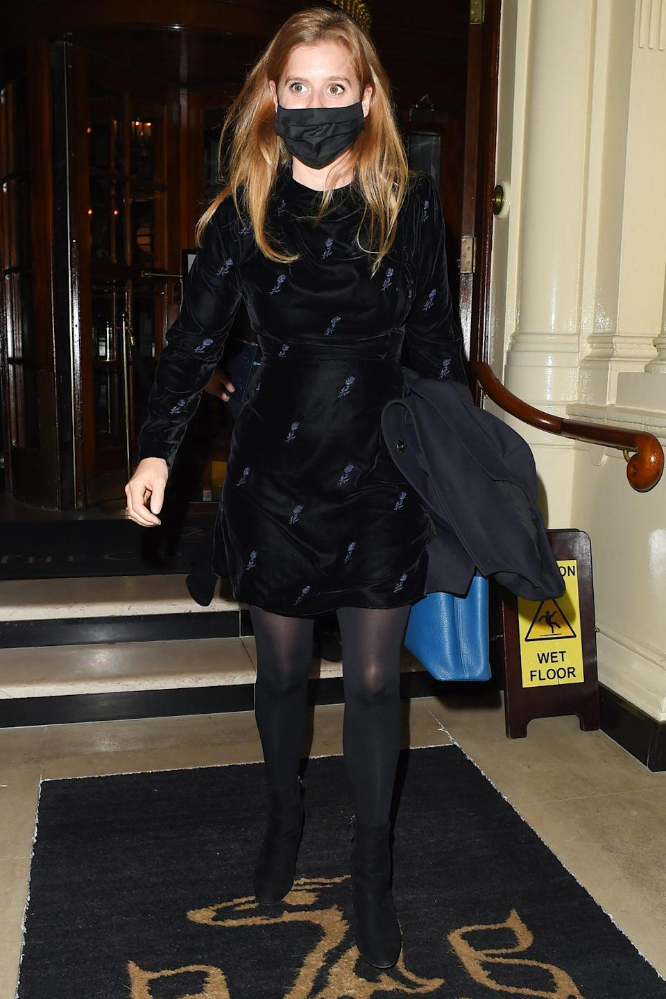 <p>Princess Beatrice is seen leaving The Connaught Hotel in London on Thursday after meeting a friend for dinner. </p>