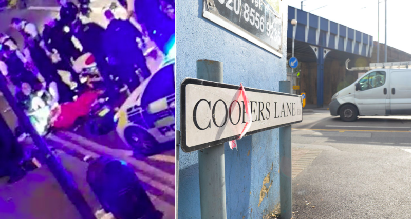 Police were filmed attending to the injured officer following the attack on Coopers Lane in Leyton (PA)