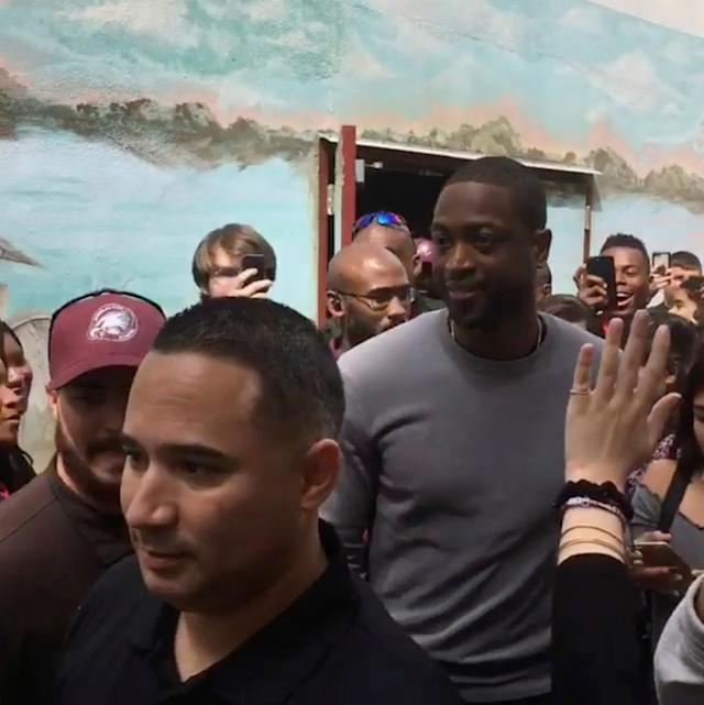 NBA player Dwyane Wade visits Marjory Stoneman Douglas High School in Parkland, Florida, U.S. March 7, 2018 in this still image taken from a video obtained by Reuters. THIS IMAGE HAS BEEN SUPPLIED BY A THIRD PARTY. MANDATORY CREDIT. NO RESALES. NO ARCHIVES