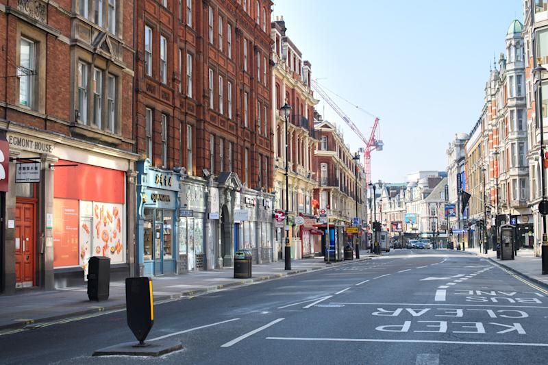 An empty Shaftesbury Avenue, London, as the UK continues in lockdown to help curb the spread of the coronavirus. Picture date: Thursday April 9, 2020. Photo credit should read: Matt Crossick/Empics