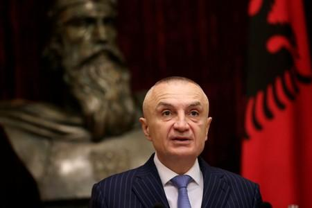 Albanian President Ilir Meta delivers a speech during a news conference in Tirana