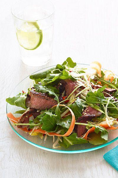 """<p>This easy salad is full of bright flavors — and is an incredibly fresh way to serve a budget-friendly cut of beef like flank steak.</p><p><em><a href=""""https://www.goodhousekeeping.com/food-recipes/a15748/crunchy-thai-beef-salad-recipe-wdy0614/"""" rel=""""nofollow noopener"""" target=""""_blank"""" data-ylk=""""slk:Get the recipe for Crunchy Thai Beef Salad »"""" class=""""link rapid-noclick-resp"""">Get the recipe for Crunchy Thai Beef Salad »</a></em><br></p>"""