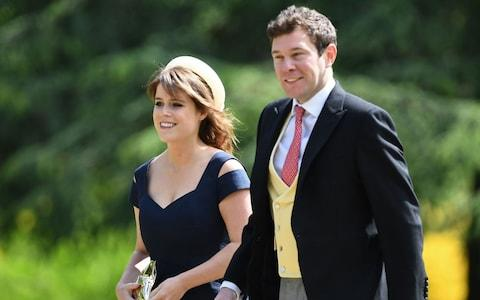 Princess Eugenie of York and her long-term boyfriend Jack Brooksbank arriving at St Mark's church in Englefield, Berkshire, for the wedding of Pippa Middleton and James Matthews - Credit: Justin Tallis /PA