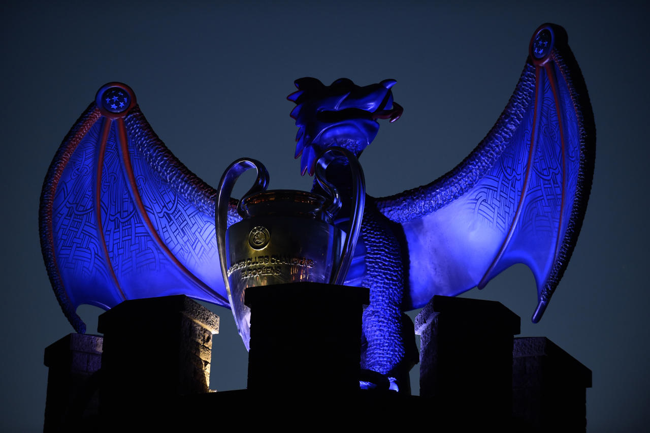 Britain Soccer Football - Juventus v Real Madrid - UEFA Champions League Final - The National Stadium of Wales, Cardiff - June 3, 2017 A replica of the UEFA Champions League trophy is displayed with a dragon on the walls of Cardiff Castle Reuters / Rebecca Naden Livepic