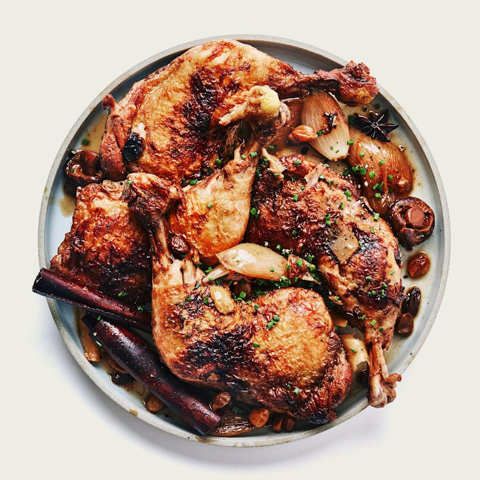 "We love homemade vinegar, but, yes, you can use supermarket stuff for this, and it will still be awesome. <a href=""https://www.bonappetit.com/recipe/vinegar-braised-chicken-legs?mbid=synd_yahoo_rss"" rel=""nofollow noopener"" target=""_blank"" data-ylk=""slk:See recipe."" class=""link rapid-noclick-resp"">See recipe.</a>"