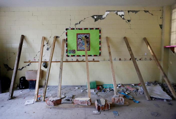 <p>Support beams are placed on a crumbling wall of a room during the search for students at the Enrique Rebsamen school after an earthquake in Mexico City, Mexico, Sept. 21, 2017. (Photo: Daniel Becerril/Reuters) </p>