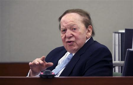 Las Vegas Sands Corp Chairman and CEO Adelson testifies on the witness stand in Las Vegas