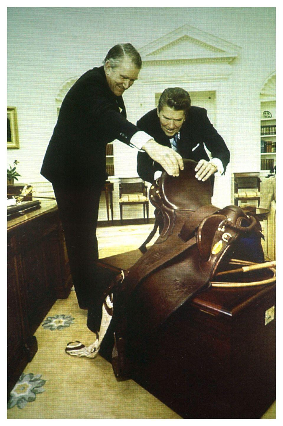 "<p>Ronald Reagan received <a href=""http://mentalfloss.com/article/22413/white-house-gift-guide-13-unique-presidential-gifts"" rel=""nofollow noopener"" target=""_blank"" data-ylk=""slk:several saddles"" class=""link rapid-noclick-resp"">several saddles</a> while in office, but the most ornate one was gifted to him by the president of Algeria in 1985. </p>"