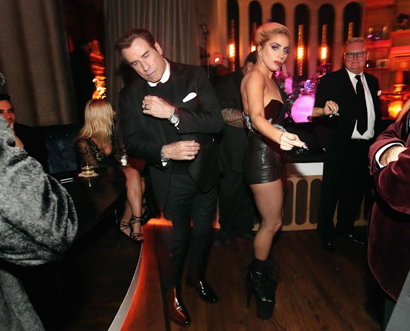 LOS ANGELES, CA - FEBRUARY 12: Actor John Travolta (L) and recording artist Lady Gaga attend Interscope's Grammy After Party with Lady Gaga at the Peppermint Club on February 12, 2017 in Los Angeles, California. (Photo by Christopher Polk/Getty Images for Interscope) (Photo: Christopher Polk via Getty Images)