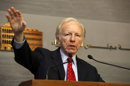 FILE PHOTO: U.S. Senator Joseph Lieberman speaks during a news conference at the government palace in Beirut May 2, 2012.  REUTERS/Mohamad Azakir/File Photo