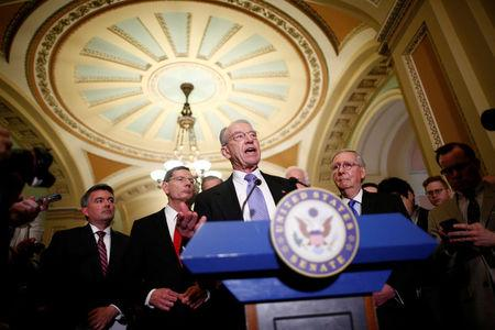 U.S. Sen. Chuck Grassley (R-IA) speaks to reporters after the weekly Republican caucus policy luncheon at the U.S. Capitol in Washington, U.S. April 4, 2017. REUTERS/Eric Thayer