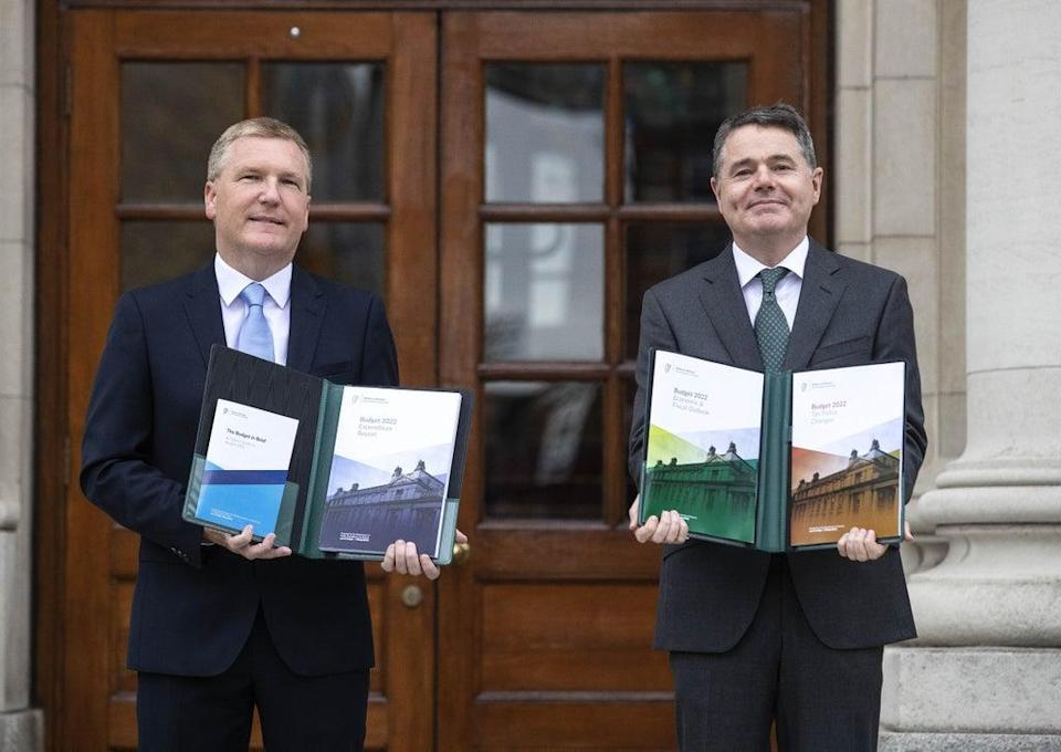 Minister for Finance Paschal Donohoe (right) and Minister for Public Expenditure and Reform Michael McGrath arrive at Government Buildings to unveil the Government's Budget for 2022 (Damien Eagers/PA) (PA Wire)